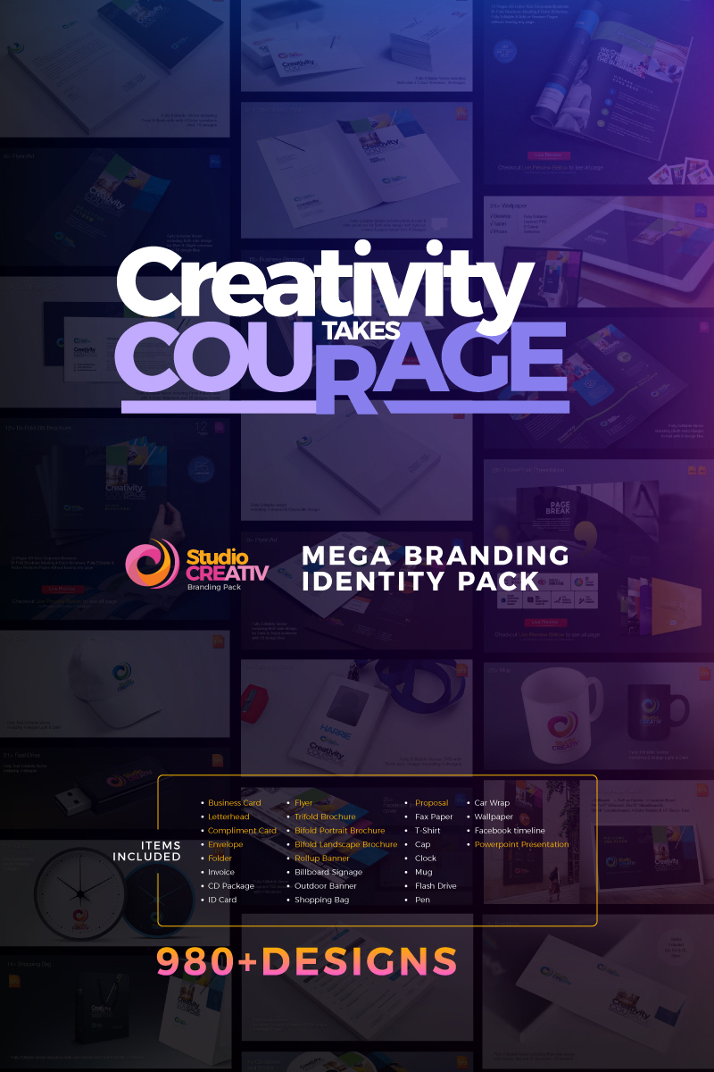 """Šablona firemního stylu """"Creative Corporate Identity Branding Mega Pack"""" #74027"""