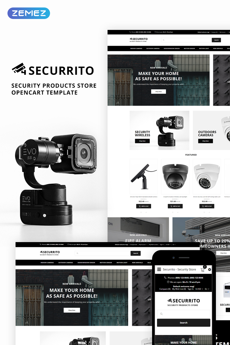 """""""Securrito - Security Products Store"""" Responsive OpenCart Template №74065"""
