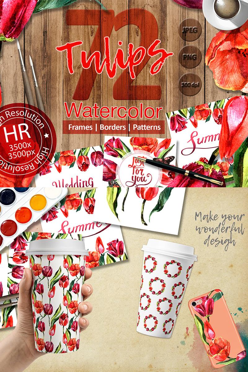 Stunning Red Tulips PNG Watercolor Set Illustration - screenshot