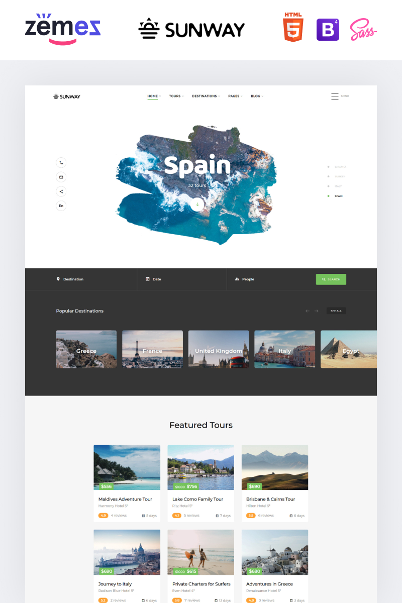"""Sunway - Travel Agency Multipurpose HTML"" Responsive Website template №74092 - screenshot"