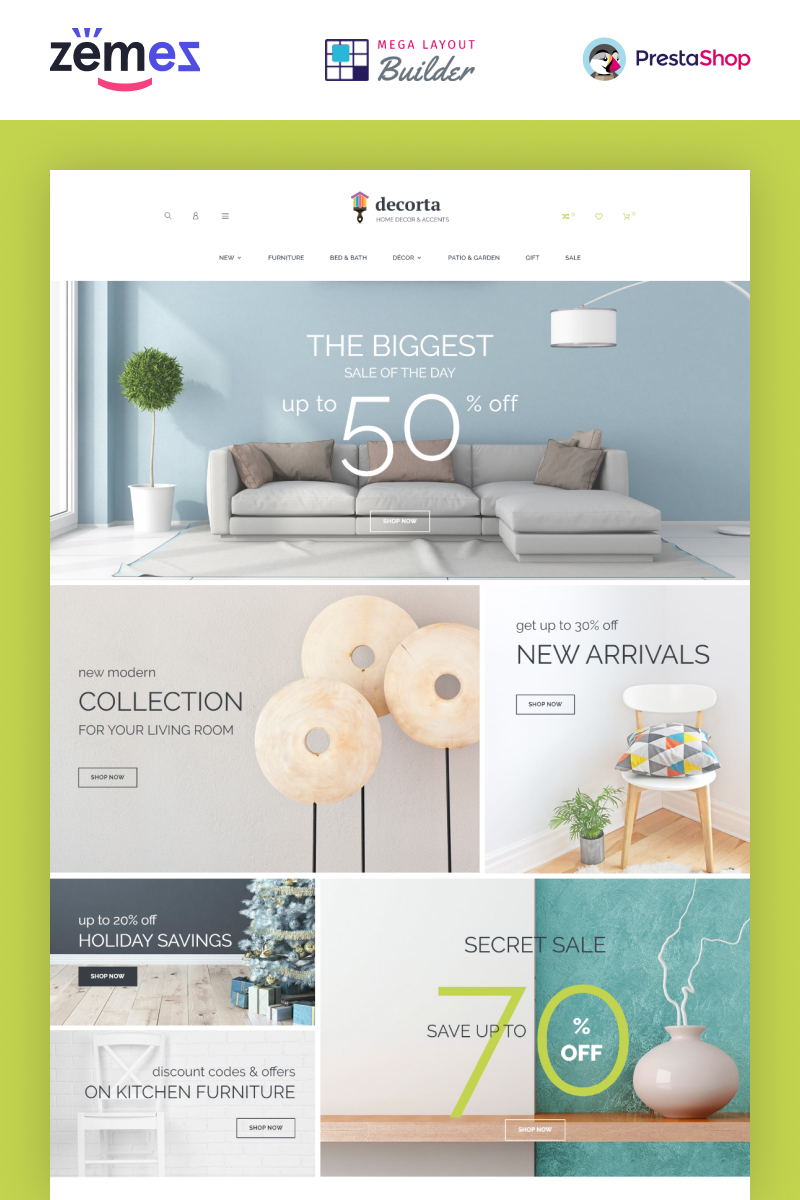 "Tema De PrestaShop ""Decorta - Furniture Store"" #74074"