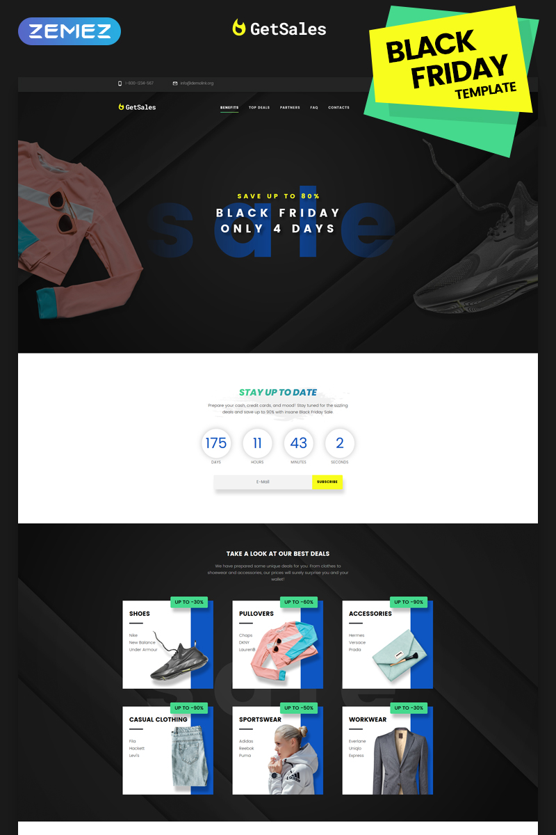 "Tema di Landing Page Responsive #74082 ""GetSales - Fancy Black Friday HTML"""