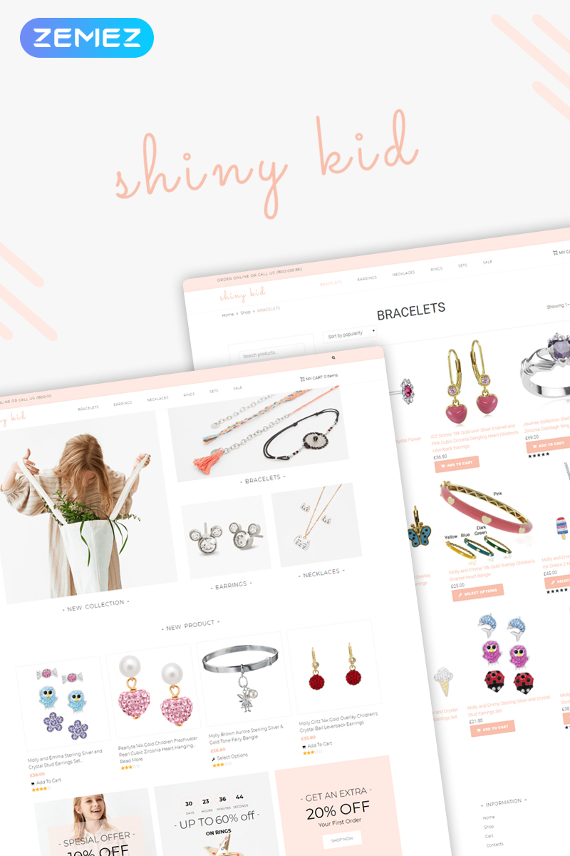 "Tema WooCommerce ""Shiny Kid - Children Jewelry Elementor"" #74049"
