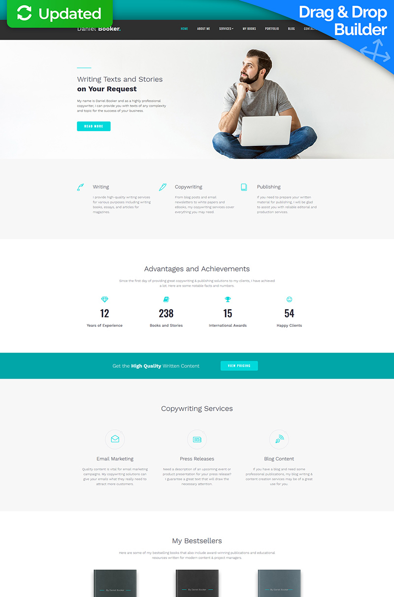 Website Design Template 74151 - copywriter freelance copywriting portfolio content skills blog creative web text writers author authors blogger book books inspiration
