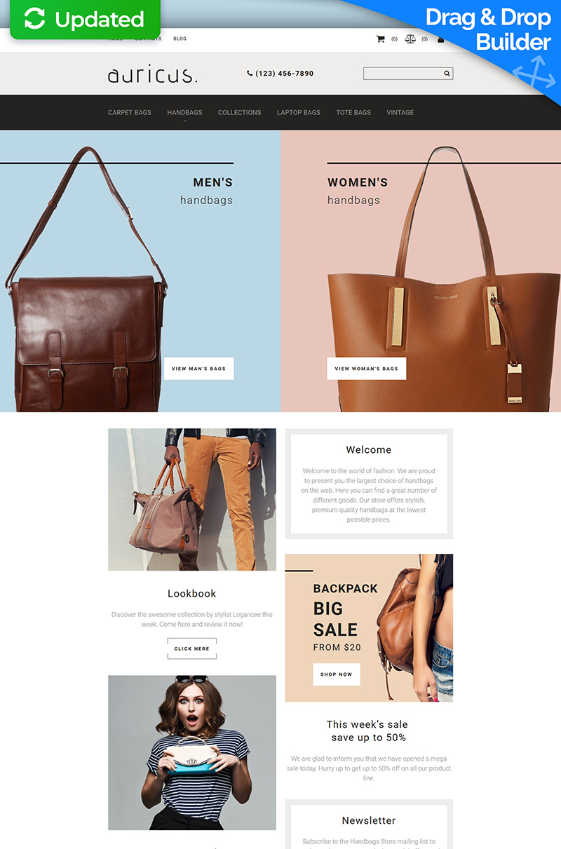 Website Design Template 74182 - handbags purse purses women leather sale online store shop estore ecommerce fashion brand brands vintage outfit