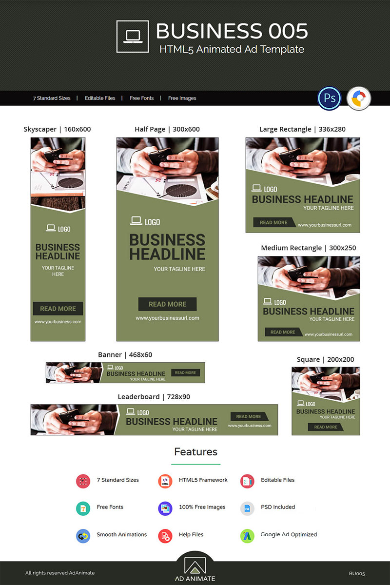 "Animated Banner namens ""Business Banner 005 - Animated Ad"" #74133"