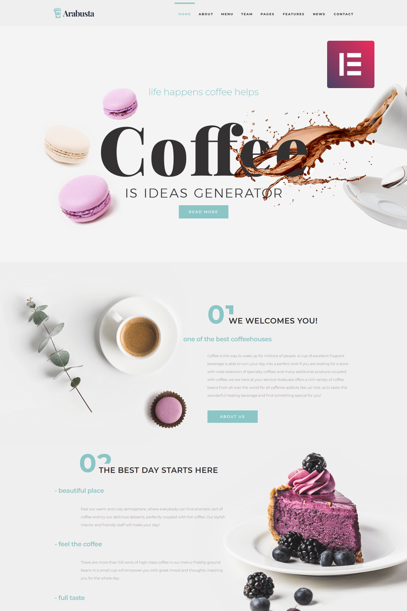 """Arabusta - Coffeehouse Elementor"" - адаптивний WordPress шаблон №74163"