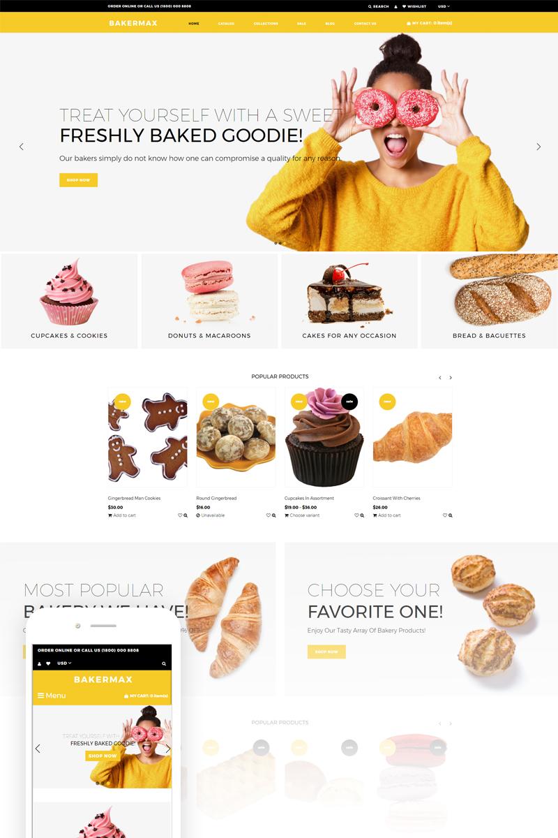 """Bakermax - Bakery Shop"" - адаптивний Shopify шаблон №74130"