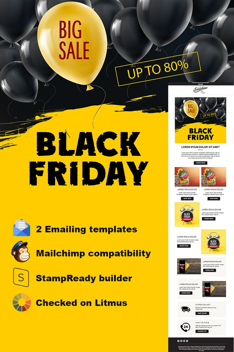 """""""Black Friday Responsive Email + StampReady Builder"""" Responsive Nieuwsbrief Template №74177"""