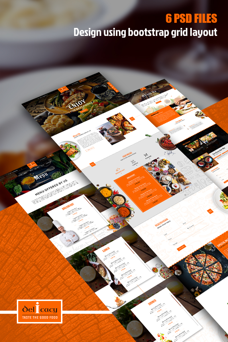 Delicatesse - Multifunctionele restaurant PSD-sjabloon