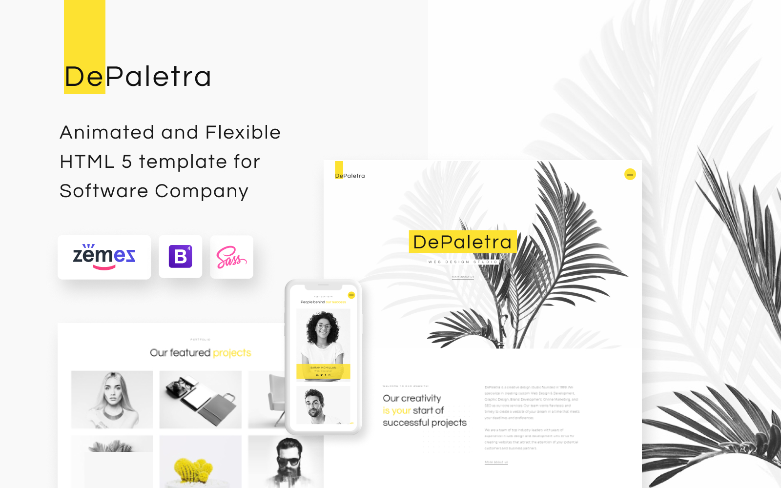 """DePaletra - Design Ready-to-Use"" Responsive Website template №74167"