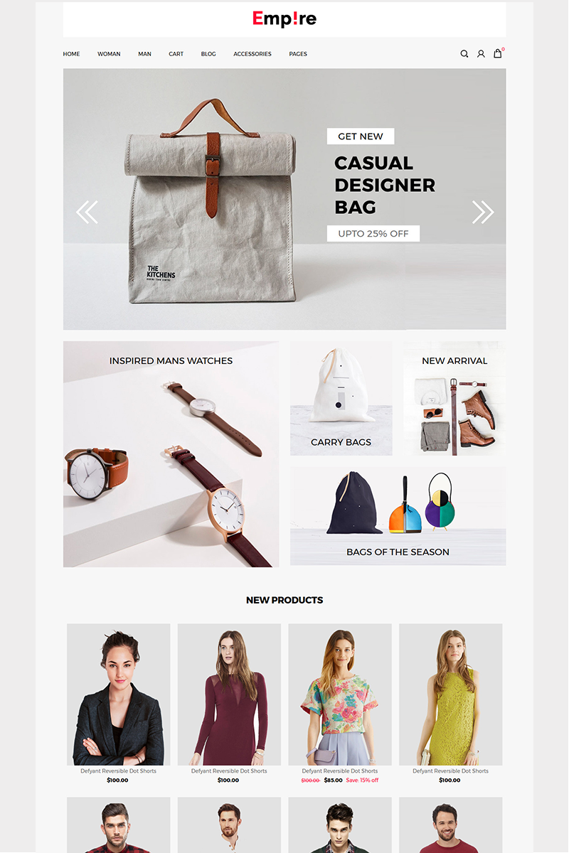 Empire - Fashion | Accessories ZenCart Template