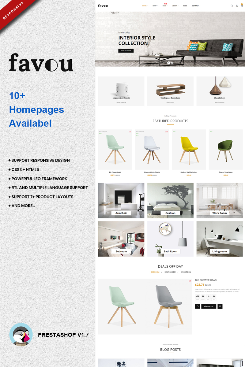 """Favou - Furniture"" - PrestaShop шаблон №74117"