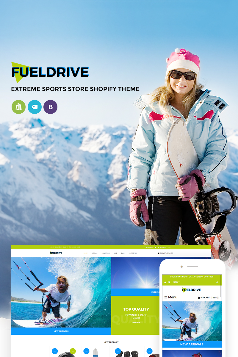 """""""FuelDrive - Dynamis Sports Gear Online Store"""" 响应式Shopify模板 #74106"""