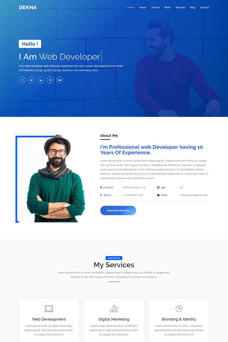 "Landing Page Template namens ""Dekha - Creative Personal Portfolio"" #74175"