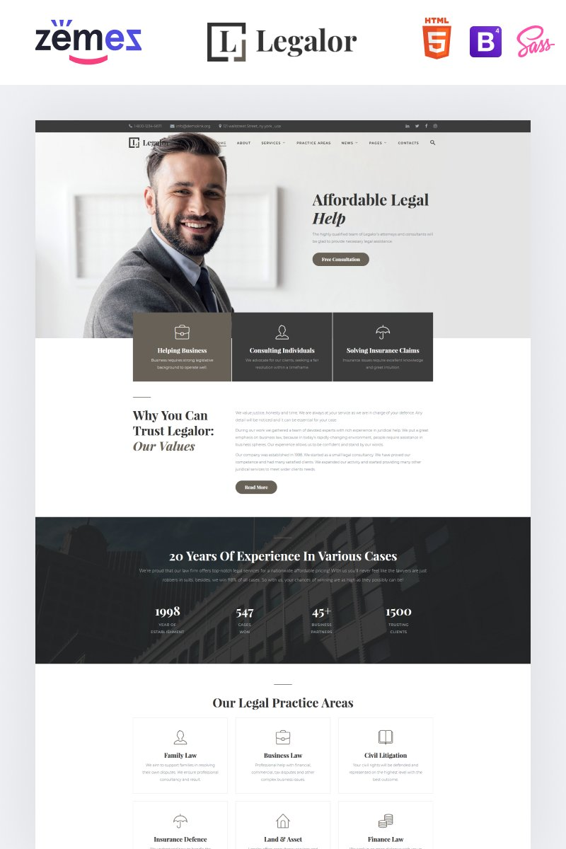 Legalor - Classy Law Company Responsive Website Template