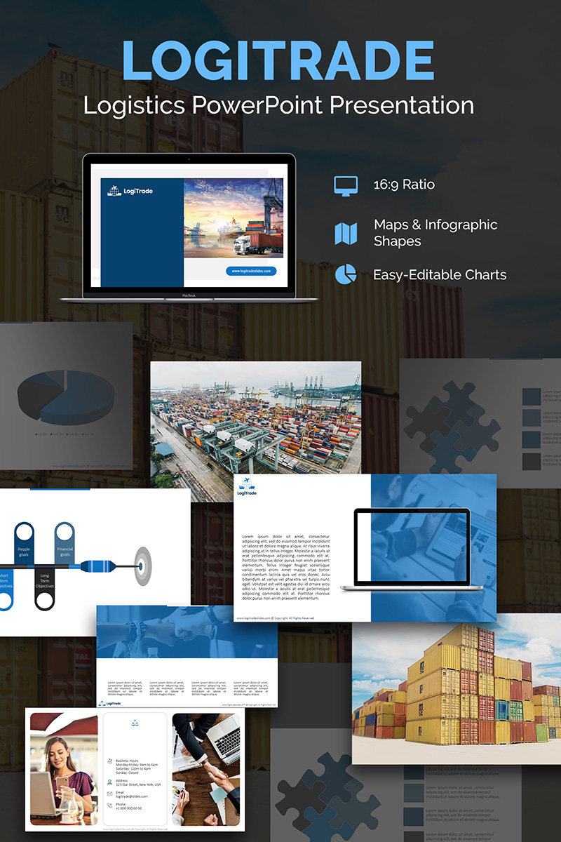 """Logistics PPT Slides"" PowerPoint 模板 #74164"