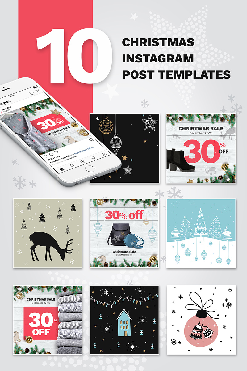 "Medios Sociales ""10 Christmas Instagram Post Templates"" #74181 - captura de pantalla"