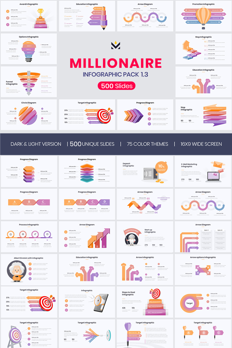 Millionaire-Elegant Infographic Pack 1.1 PowerPoint sablon 74120