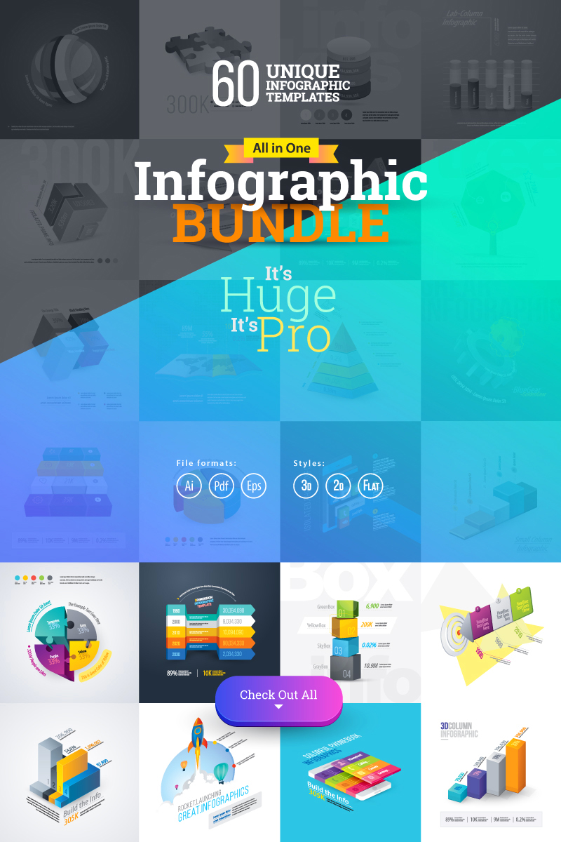 """Modello Elementi infografici #74162 """"Most Use Essential Infographic Mega"""""""