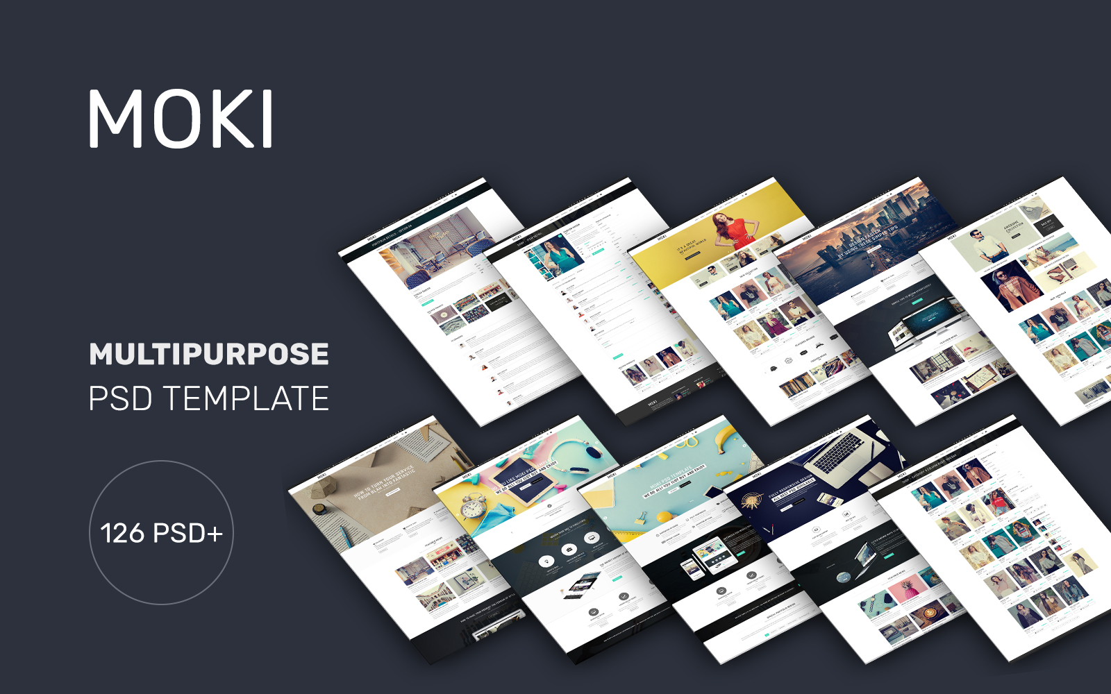 """Moki - 126 PSD Multi-purpose"" Responsive PSD Template №74179"
