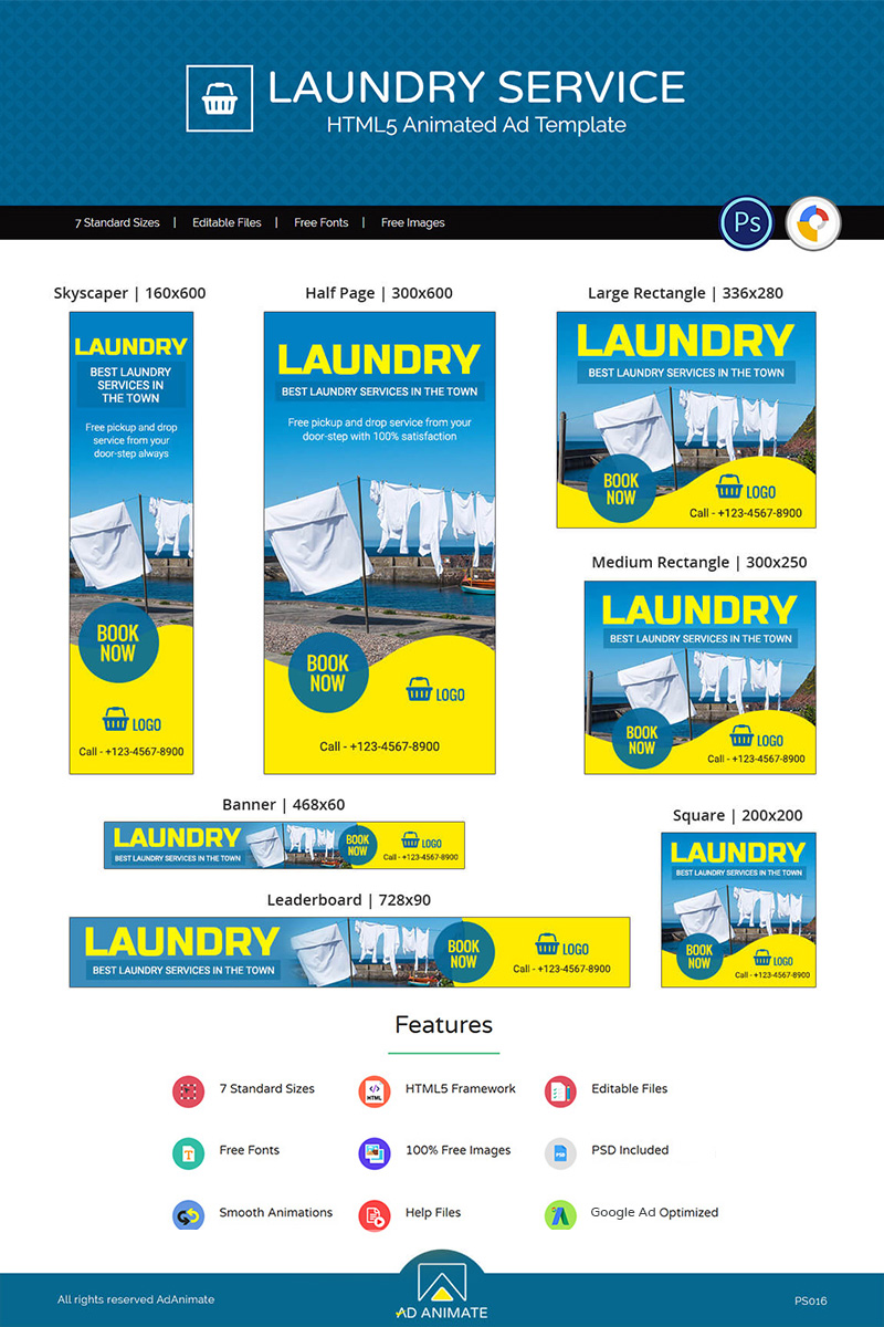 Professional Services | Laundry Service Animated Banner