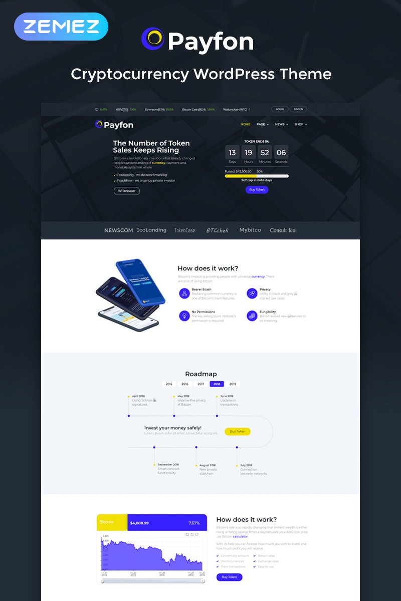 Responsive Payfone - ICO Elementor Wordpress #74165