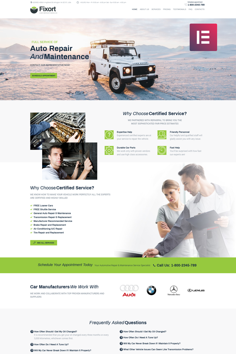 Responsivt Fixort - Car Repair Service Elementor WordPress-tema #74186