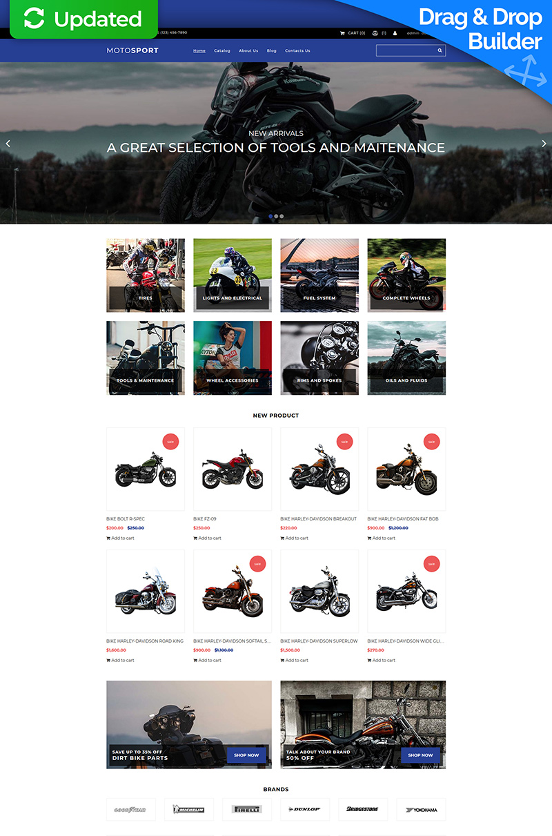 Responsivt Motosport MotoCMS Ecommerce-mall #74114 - skärmbild