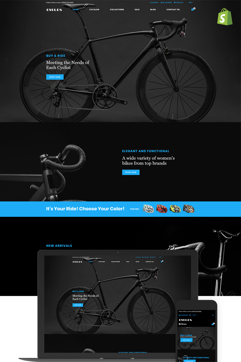 Reszponzív Cycles - Bikes Shop Shopify sablon 74138