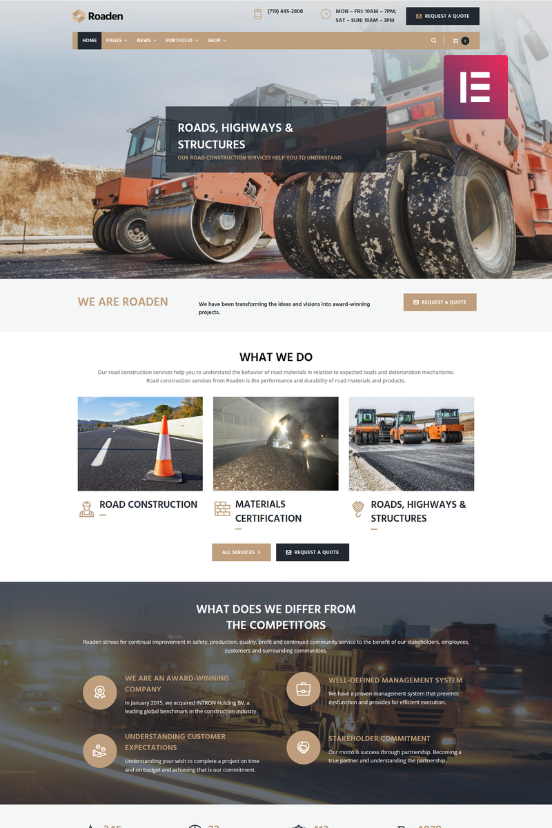 Roaden - Road Construction Elementor WordPress Theme