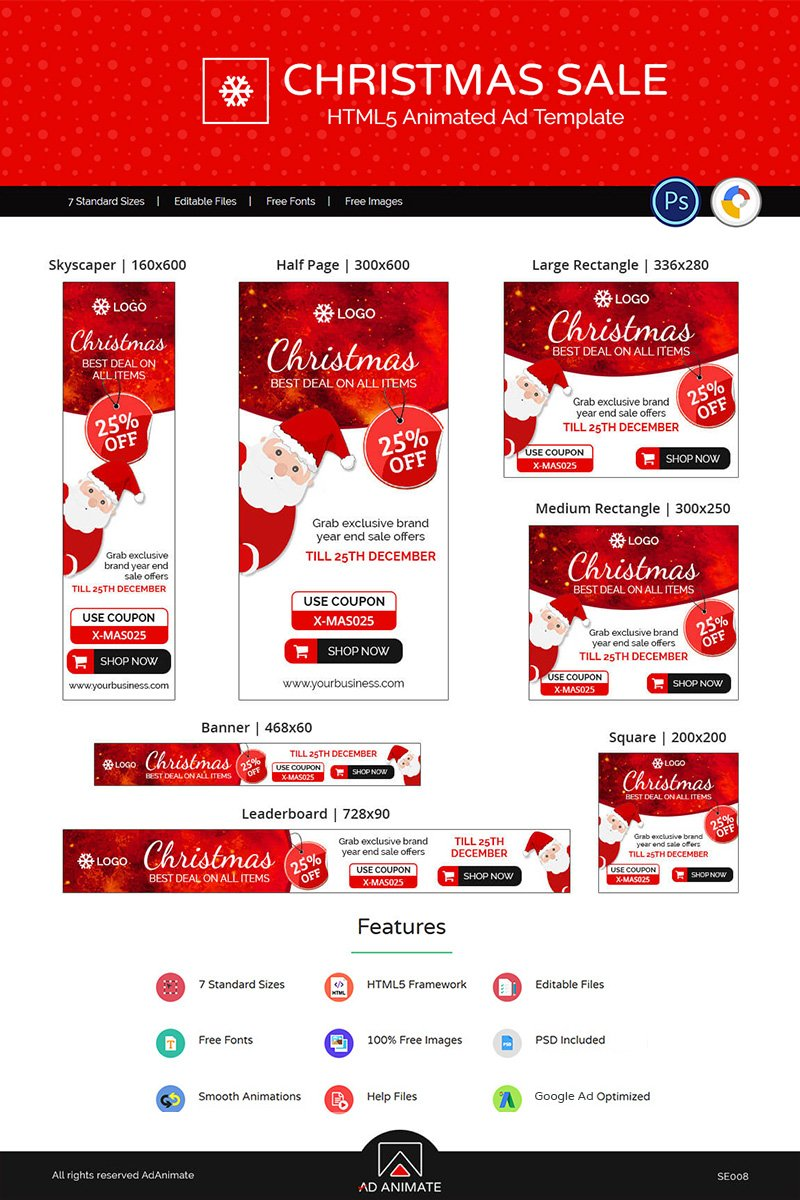 Shopping & E-commerce | Christmas Sale Ads Animated Banner