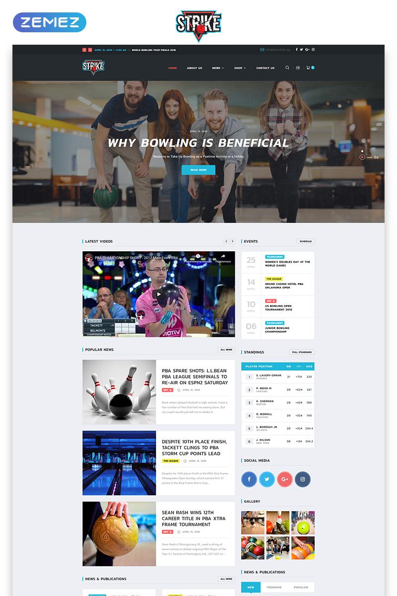 """Strike - Bowling Multipage HTML"" - адаптивний Шаблон сайту №74113"