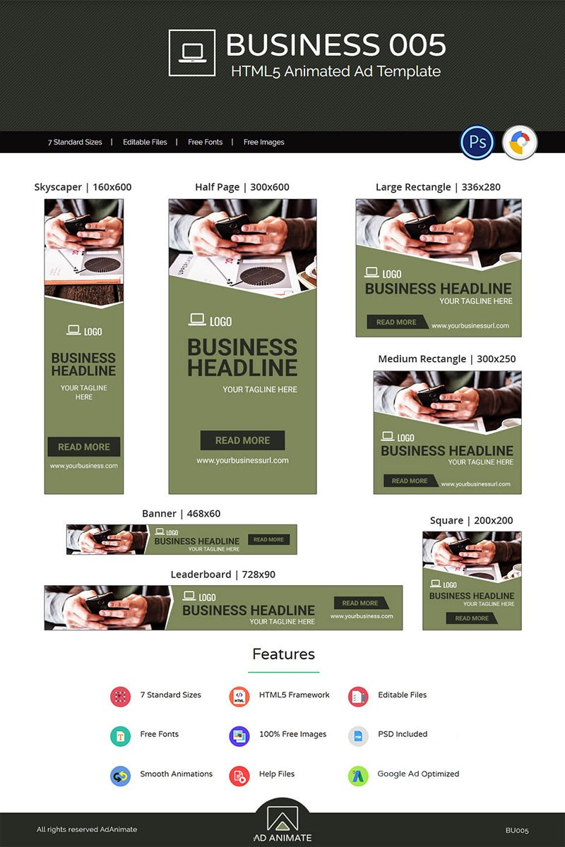"""Tema Animated Banner #74133 """"Business Banner 005 - Animated Ad"""""""