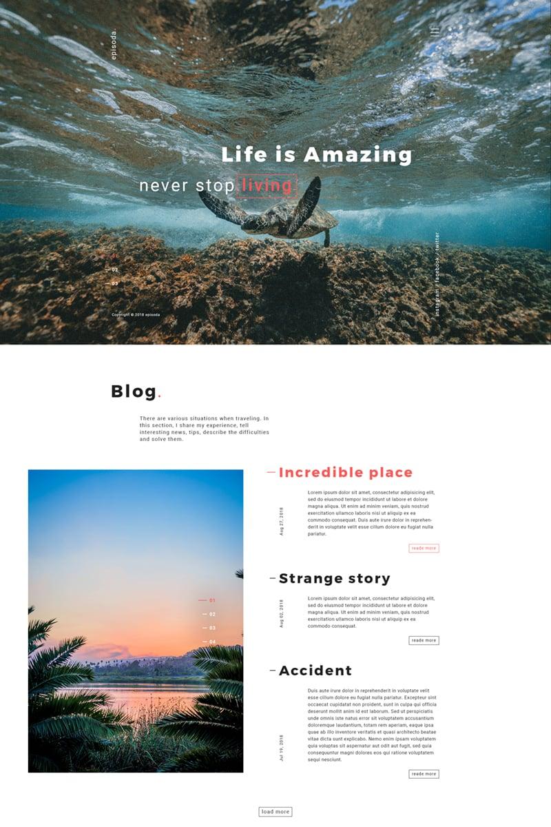 "Tema Siti Web Responsive #74172 ""episoda - Personal Photo Gallery, Blog"""