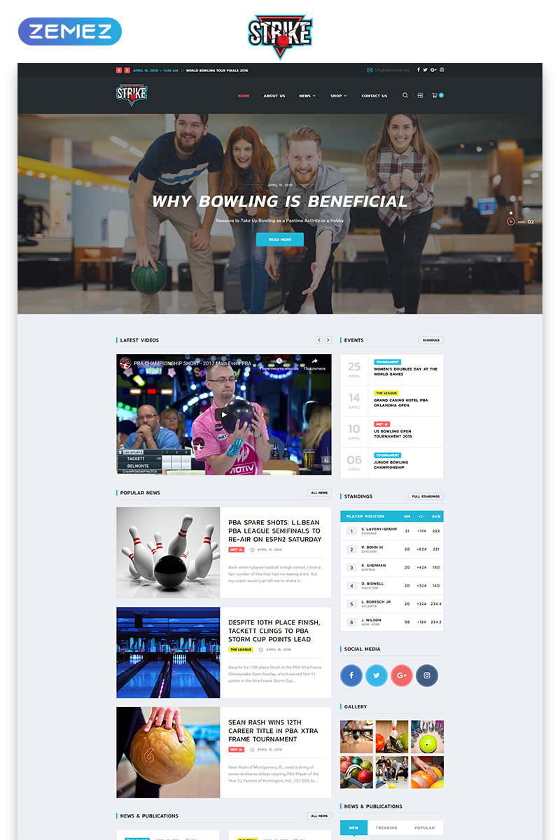 "Template Siti Web Responsive #74113 ""Strike - Bowling Multipage HTML"""