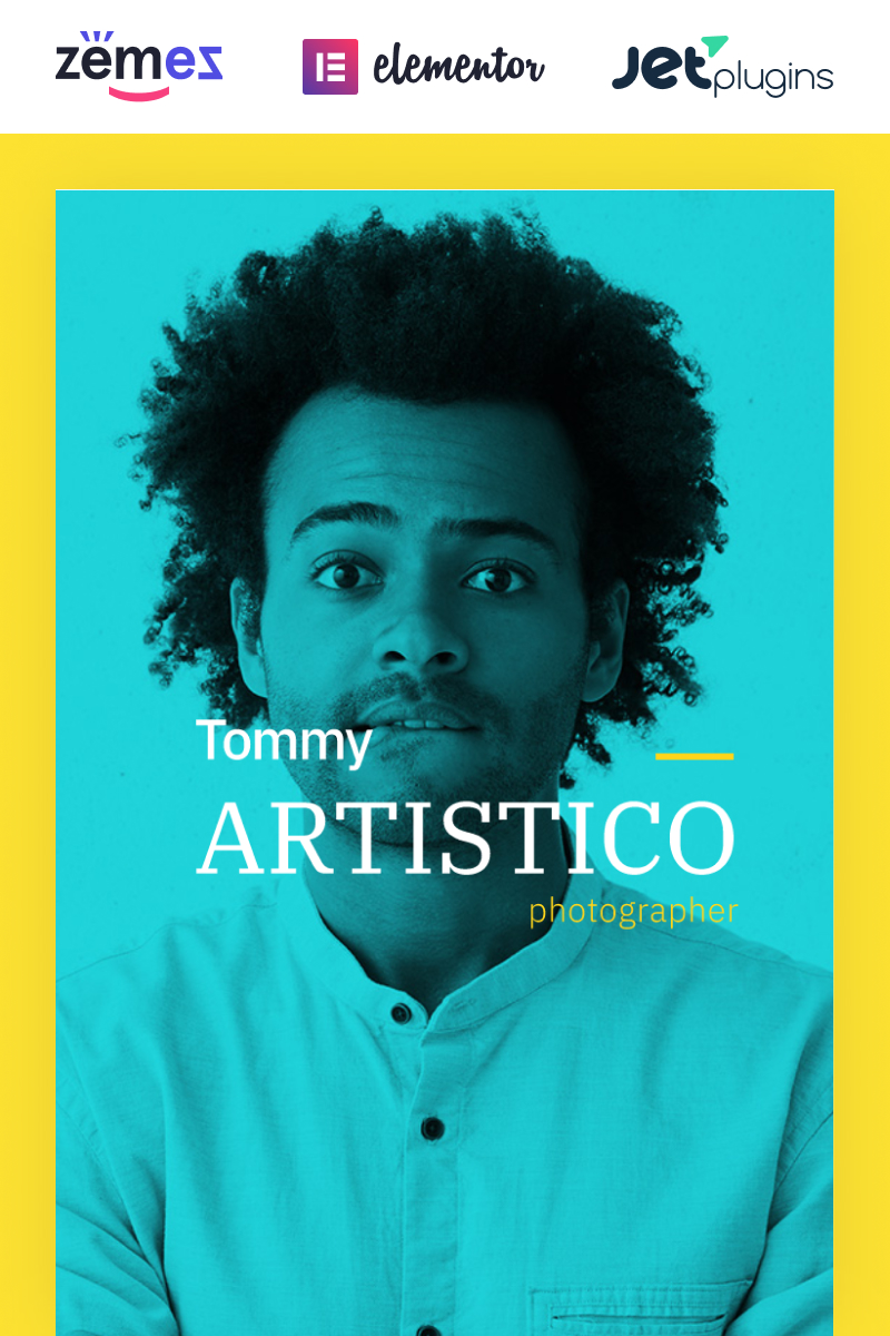 """Tommy Artistico - Photographer Gallery Elementor"" Responsive WordPress thema №74196"
