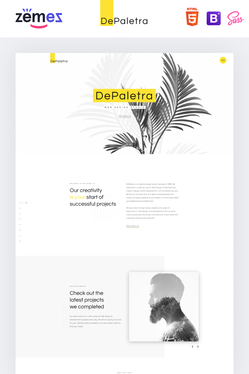 "Website Vorlage namens ""DePaletra - Elegant Design Studio Responsive"" #74167"