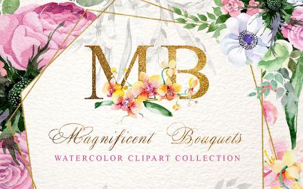 Magnificent Bouquets Watercolor PNG Illustration