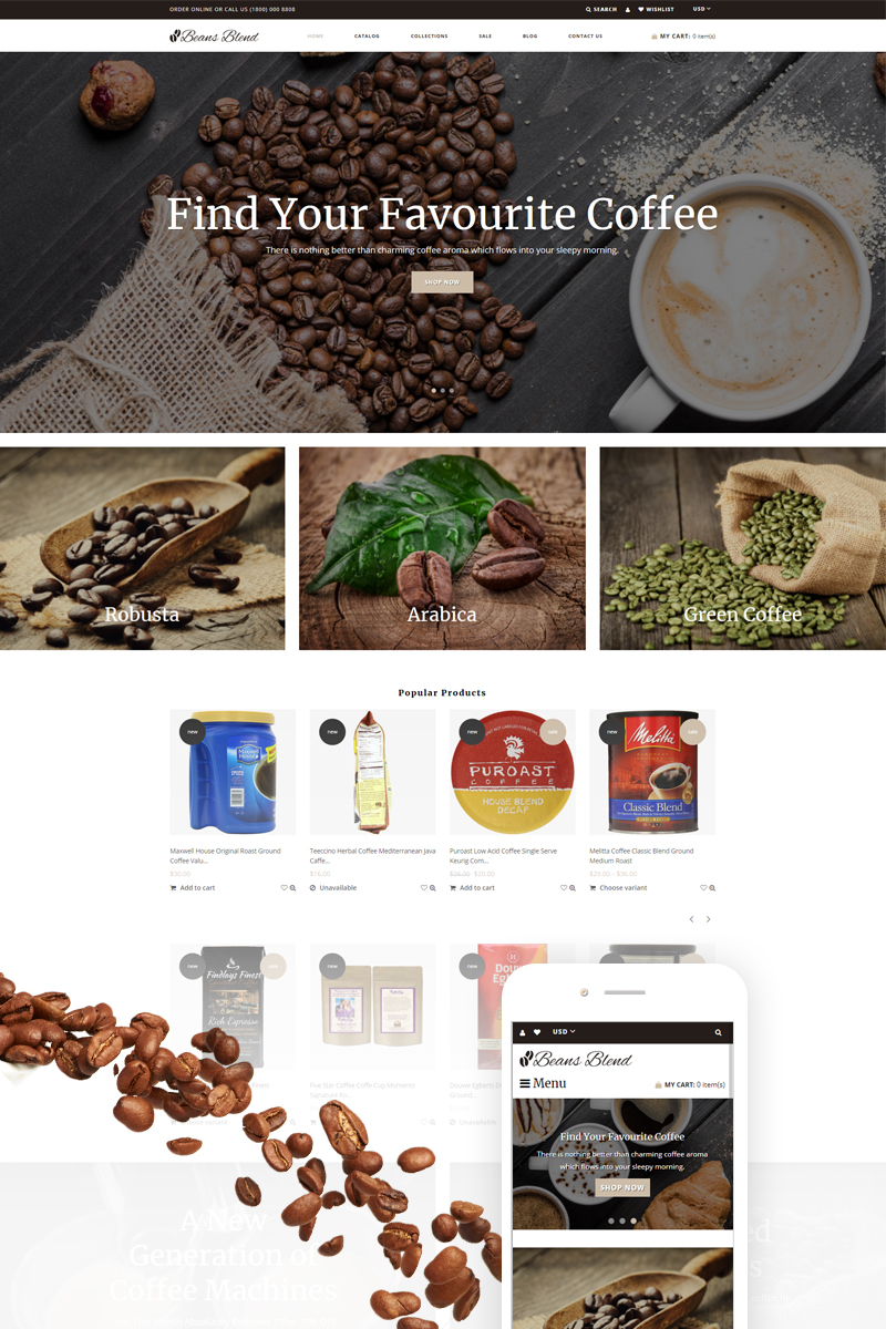 """Beans Blend - Coffee Shop"" - адаптивний Shopify шаблон №74257"