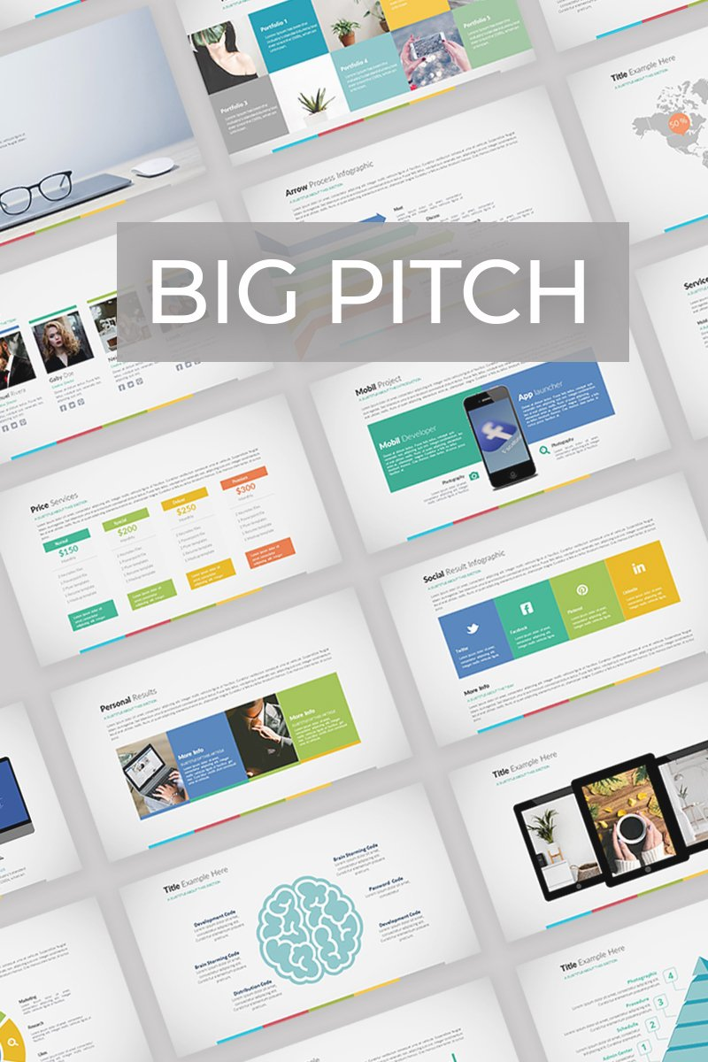Big Pitch PowerPoint sablon 74244