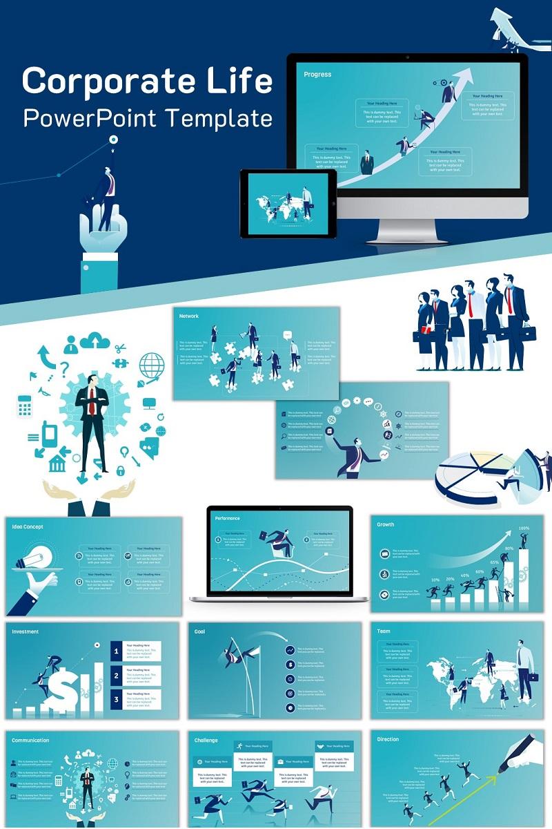 Corporate Life PowerPoint sablon 74241