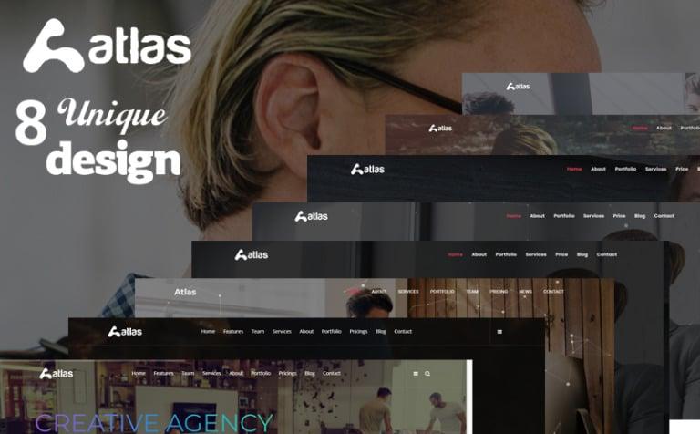landing page template namens atlas one page creative agency html grosser screenshot