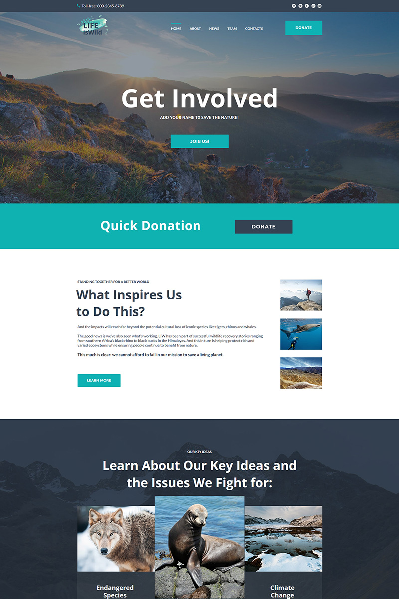 LifeisWild - Wild Life Moto CMS HTML Template