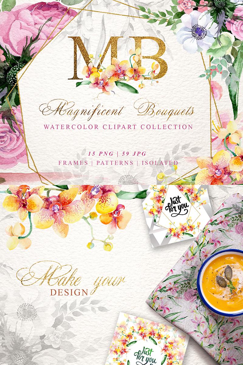 Magnificent Bouquets Watercolor PNG №74227 - скриншот