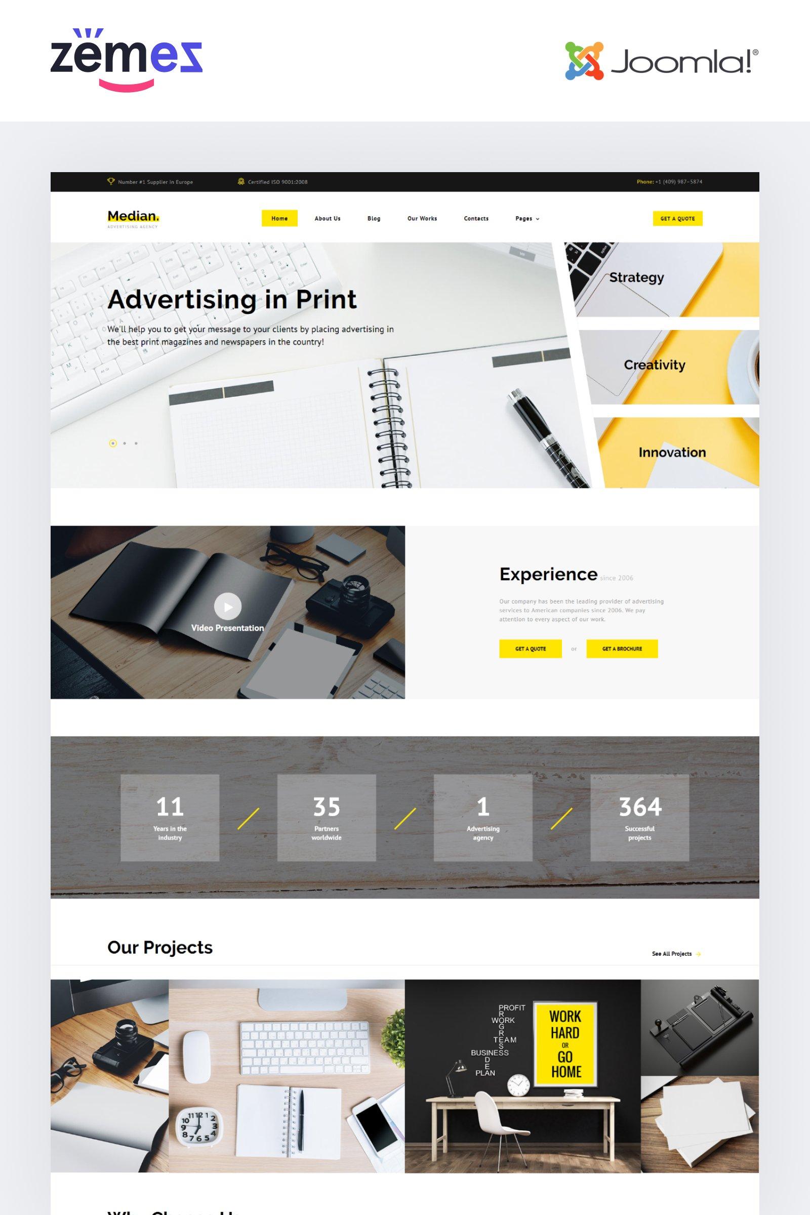 """""""Median - Advertising Agency Multipage Modern"""" Responsive Joomla Template №74225"""