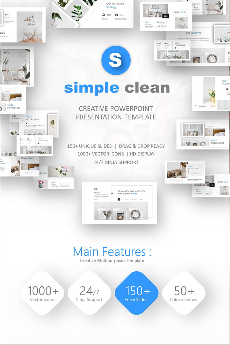 """Simple Clean"" modèle PowerPoint Premium #74242"