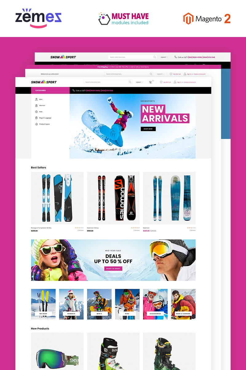 "Tema Magento Responsive #74256 ""SnowSport - Extreme Sports Gear"""