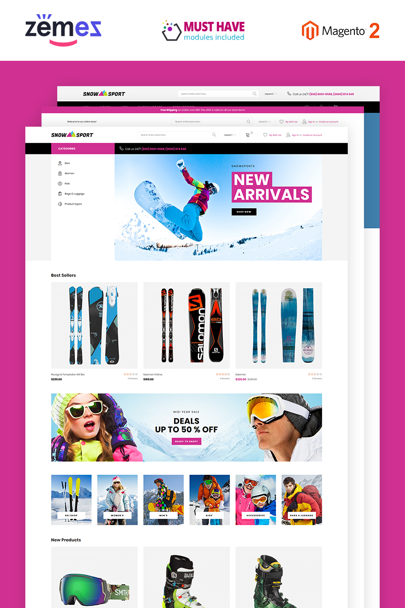 "Tema Magento ""SnowSport - Extreme Sports Gear"" #74256"
