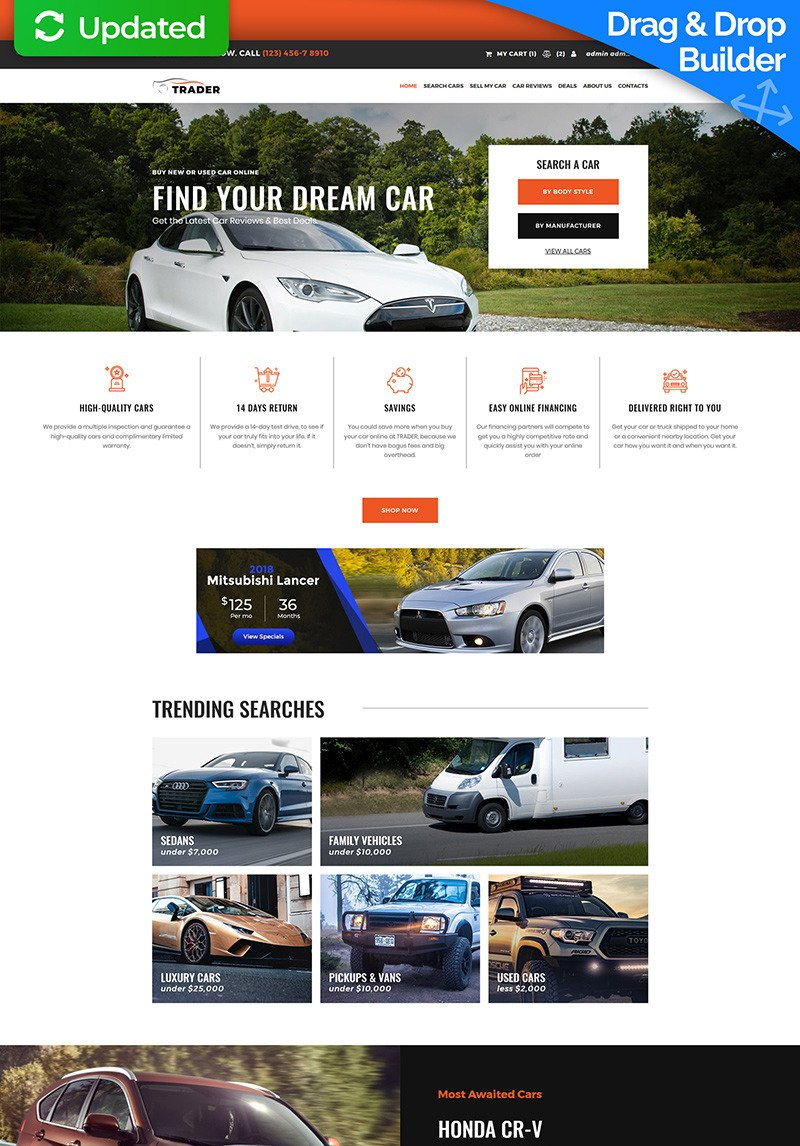 How To Return A Used Car To The Dealer >> Trader Car Dealer Motocms Ecommerce Template